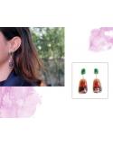 Pendientes de oro rosa y amarillo con zafiros naturales , aventurinas verdes y perlas