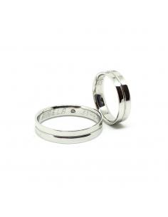 Alianzas artesanas bodas oro blanco diamantes