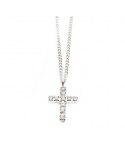 Cruz diamantes collar oro blanco 750