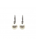Pendiente oro blanco 750 diamantes y perlas australianas