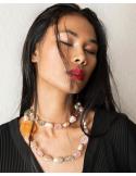 Collar largo perlas barrocas cuarzos, agatas, amatistas, prasiolitas y plata