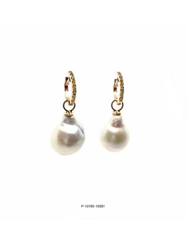 Pendietes diamantes y perlas barrocas