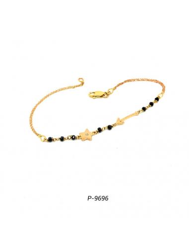 Pulsera de oro rosa con espinelas negras y un diamante