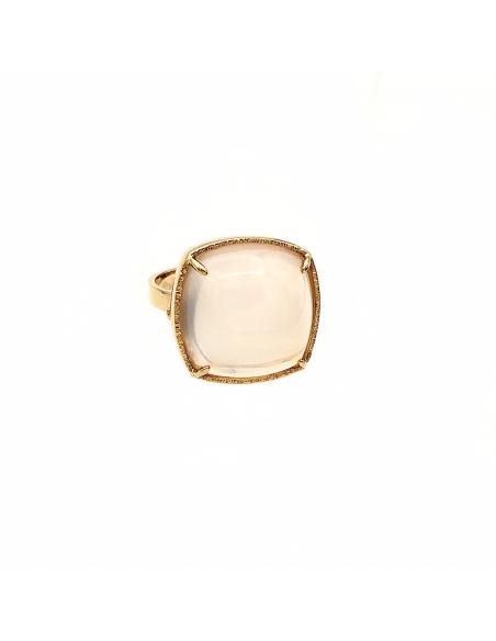 Sortija en oro rosa de 1ª ley con cuarzo rosa natural extra, talla cabujón