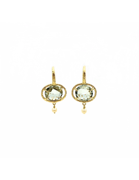Pendientes  artesanos colgantes oro amarillo 1ª con prasiolitas naturales y perlas