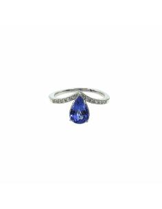 Anillo compromiso Tanzanita, diamantes y oro blanco