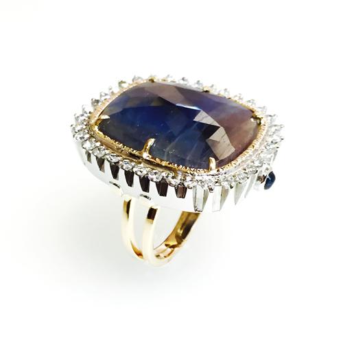 anillo artesanal oro zafiro y diamantes